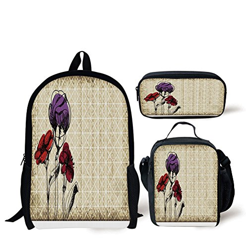 (iPrint School Lunch Pen,Floral,Sketchy Flower Petals with Grunge Effects Blooms Florets Illustration,Tan Maroon Purple Red,Bags)