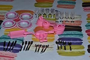 Gloria Dollhouse Furniture- Accessories Plate Glasses Spoon Set