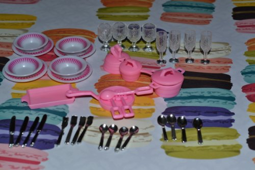 Barbie Size Dollhouse Furniture- Accessories Plate Glasses Spoon