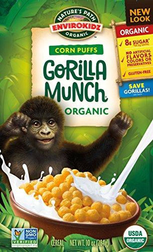 EnvirokidzOrganic Gluten-Free Cereal, Corn Puffs Gorilla Munch, 10 Ounce Box (Pack of 6)