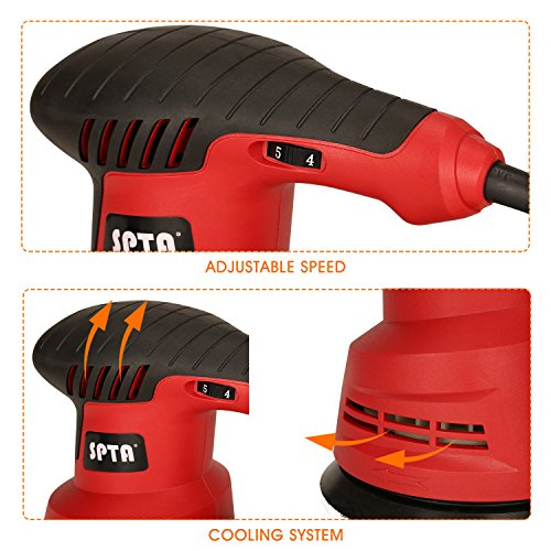 SPTA Random Orbit Sander, 2.4A 280W 5-Inch 6 Variable Speed Orbital Sander/Polisher Electric Sander,With 2 Polishing Buffing Pads and 12 Sanding Discs Kit for Home Decoration and DIY by SPTA (Image #4)