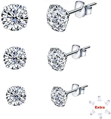 Sterling Silver Studs Earrings with Cubic Zirconia NOT STAINLESS STEEL with 4 mm, 5 mm and 6 mm Size Fashion Jewelry for Women & Girls