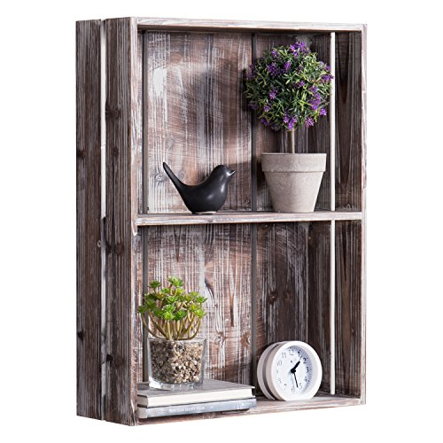 MyGift 24-Inch Rustic Torched Wood Crate Floating Display Shelf by MyGift