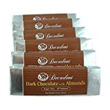 Decadent Dark Chocolate Almond Bar (6 Pack) - LC Foods - Low Carb - All Natural - Gluten Free - No Sugar - Erythritol - Diabetic Friendly - 1.8 oz