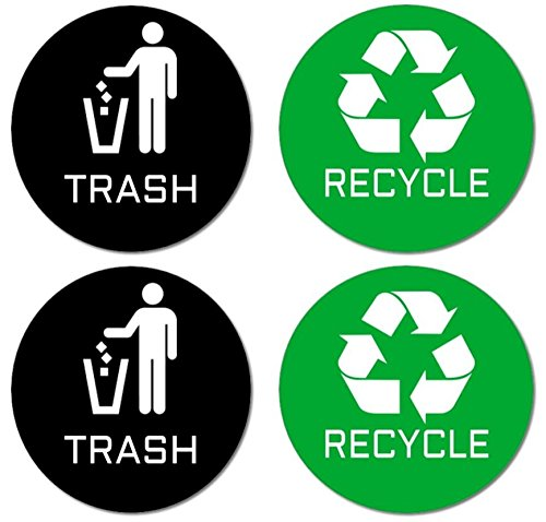 Recycle & Trash Stickers (2 Trash + 2 Recycle, Premium Quality) for Use on Trash Cans & Recycle Bins of All Types; 4' Round with Adhesive on Back (2 Black Trash + 2 Green Recycle)