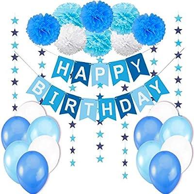 """Decoraciónes Cumpleaños Niño – 1 Bandera Banderines """" Happy Birthday"""" + 8 Pompón Bola de Flor + 2 Guirnaldas con Estrellas de 3 Metros + 12 Globos ..."""