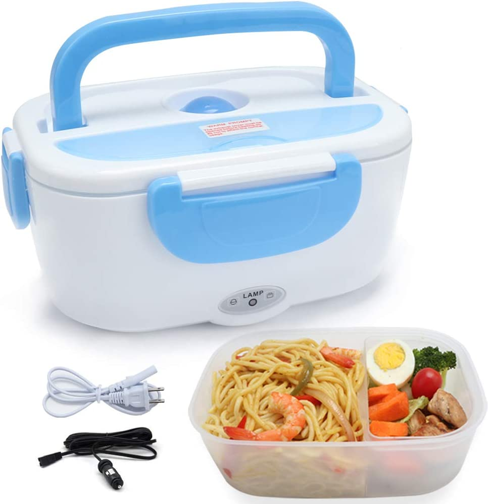 Vech Electric Lunch Box 2 in 1, Portable Food Warmer Heating,Food-Grade Container, 12V 110V 40W Adapter, Car Truck Home Work Use, Spoon and 2 Compartments Included