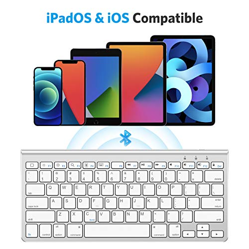 OMOTON iPad Keyboard with Sliding Stand, Ultra-Slim Bluetooth Keyboard for iPad Air 4th Generation 10.9, iPad 10.2(8th/ 7th Gen), iPad Mini, and More[Sliding Stand NOT for iPad Pro 12.9], White