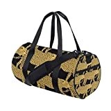 Leopard Yoga Sports Gym Duffle Bags Tote Sling Travel Bag Patterned Canvas with Pocket and Zipper For Men Women Bag