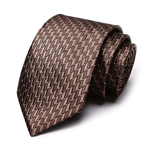 (Chocolate Brown Geometric Pattern Tie Novelty luxury Necktie Best Gift for)