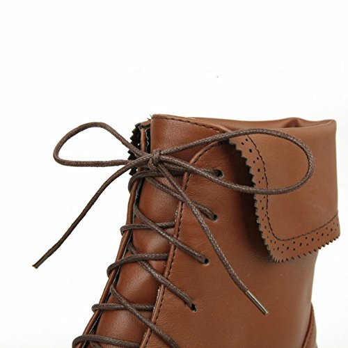 Carolbar Womens Fashion Lace Up Comfort Retro Combattimento Cosplay Tacco Basso Stivali Moto Martin Marrone