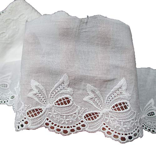 4-1/4 Inch Wide Cotton Embroidered Eyelet Lace Fabric Trimming Pack of 14 Yards ()