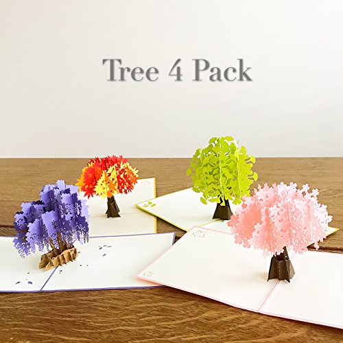 Liif Tree 4 Pack Pop Up Greeting Card, 3D Cherry Maple Tree Greeting Pop Up Card Assortment for All Occasions, Birthday, Mother's Day, Anniversary, Get Well, Handmade Gift ()