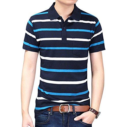 Men's Casual Polo Shirt Fashion Striped Long-sleeved T-shirt
