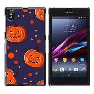 Print Motif Coque de protection Case Cover // V00002078 calabazas de Halloween y puntos // Sony Xperia Z1 L39 C6903 C6906 C6943 C6902