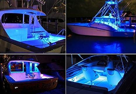 Amazon Com New 4 Ultra Blue Led Boat Light Deck Courtesy