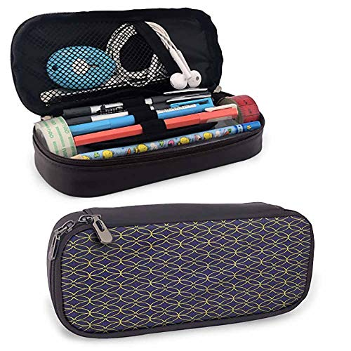 """Blue and Yellow Zipper Large Storage Pens Pouch Bag, Antique Interlace for Pens, Pencil, Samsung Stylus, Tools, USB Cable and Other Accessories 8""""x3.5'x1.5' from flyrio"""
