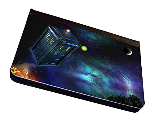 Flying Tardis Doctor Who iPad Mini Leather Case, Cover, Black. For Apple iPad Mini Tablet. With Multi-Angle Stand Feature. Compatible with iPad mini 3, iPad Mini 2, iPad Mini.