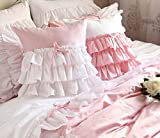 FADFAY Cute Korean Girls Bedding Set White Ruffle Duvet Cover Set 6-Piece Queen Size