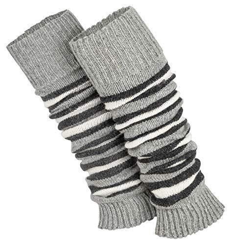 Piarini 1 paar gestreepte beenwarmers voor dames, warme gebreide beenwarmers in grijs/wit, zwart-wit, eenheidsmaat.