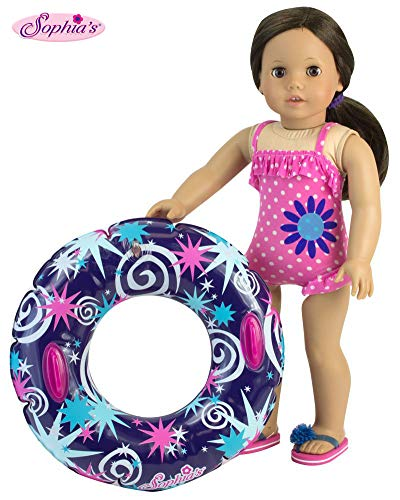 18 Inch Doll Swimwear, Hot Pink Polka Dot Bathing Suit & Summer Inner Tube, Perfect Summer Fun for Your 18 Inch American Girl Doll Clothes & More! Polka Dot Bathing - Set Polka Baby Doll Dot