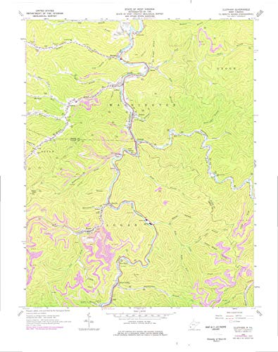 YellowMaps Clothier WV topo map, 1:24000 Scale, 7.5 X 7.5 Minute, Historical, 1963, Updated 1977, 27.9 x 22 in - Paper