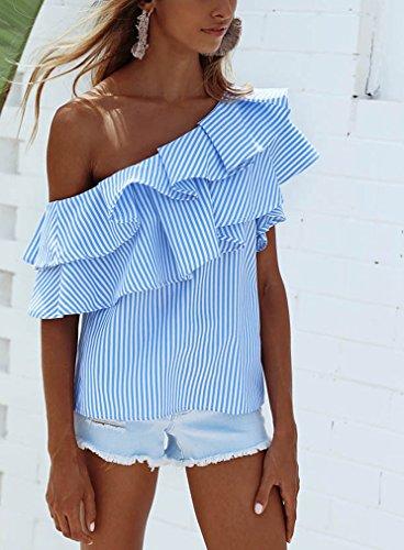 Camicia T Donne Irregolare Corta Mare Senza A Shirt Manica Blusa Righe Spalline Volant con Schienale Vintage Battercake Top Estiva Monospalla Senza Blu Elegante 4xq4w