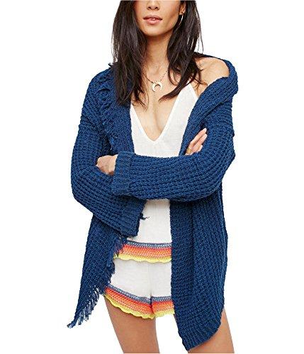 - Free People Womens Silk Fringe Trim Cardigan Sweater Blue XS
