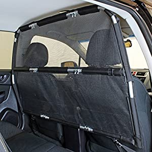 "Bushwhacker - Paws n Claws Deluxe Dog Barrier 56"" Wide - Ideal for Trucks, Large SUVs, Full Sized Sedans - Pet Restraint Car Backseat Divider Vehicle Gate Cargo Area Travel Trunk Mesh Net Screen 23"