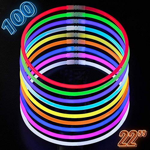 Glow Necklaces Bulk Party Supplies - 100 Glow in the Dark Necklaces - 22 Inch Glow Sticks - Extra Bright Neon Glow Necklace - Strong 6mm Thick - 9 Vibrant Neon Colors - Stuffers for Kids - Mix -
