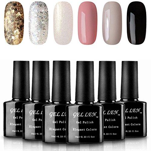 - Gellen UV Gel Nail Polish 6 Colors Set - Golden Silver Sparkle White Shimmering Pure Gray Black