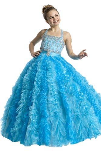 GreenBloom Girls' Beads Laser Cut Organza Skirt Pageant Dresses Dance Party Dresses Dark Blue 12