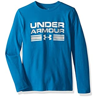 Boy's Under Armour Boys' Crossbar Logo Long sleeve T-Shirt,Cruise Blue /White, Youth X-Small