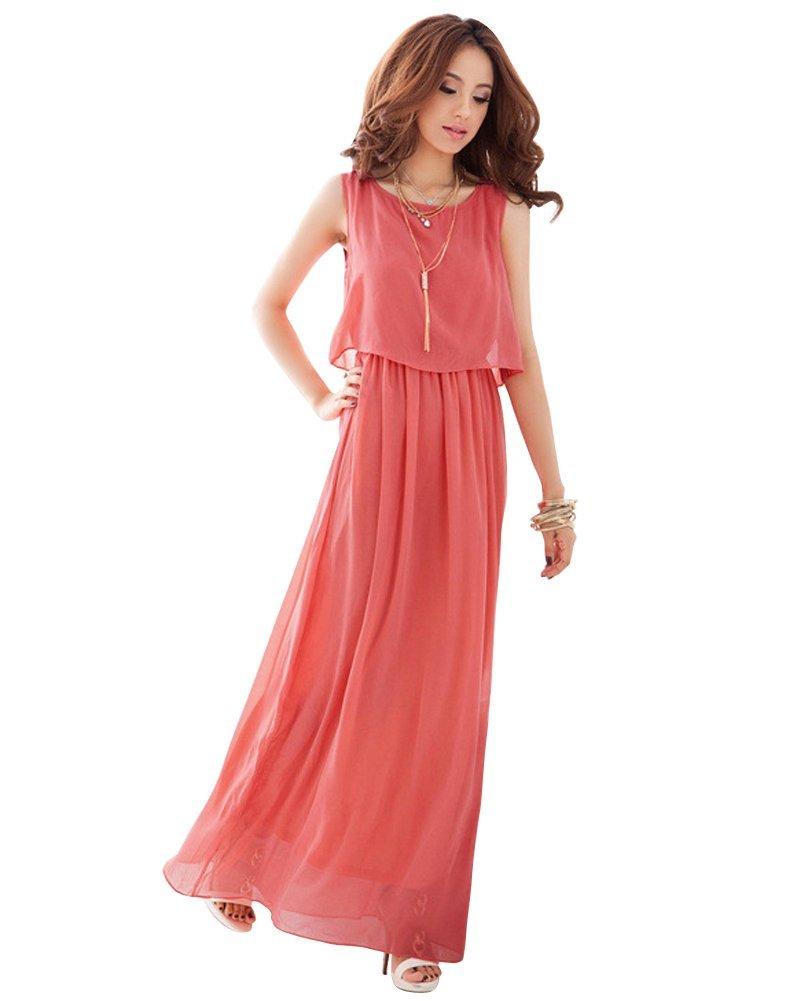 YipGrace Women's Plus Size Bohemia Chiffon Maxi Dress