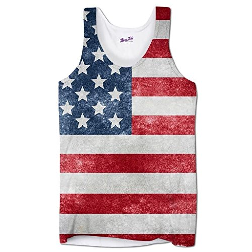4th Of July Costumes Uk (Bang Tidy Clothing Sleeveless American Stars and Stripes U.S.A Flag Sublimated Flag Holiday Men's Vest - White- XL)