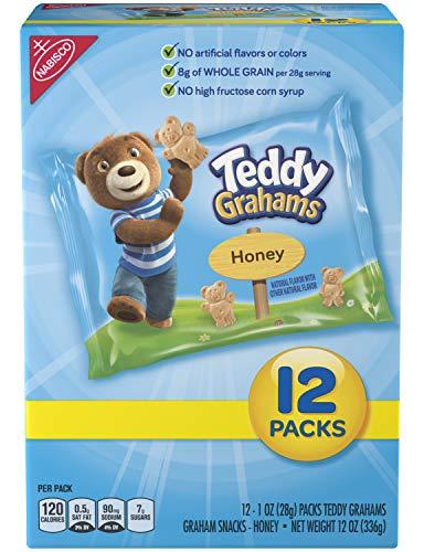 Teddy Grahams Honey Graham Snack Packs, 12 Count Box, 12 Ounce (Pack of 4) (Nabisco Teddy Grahams)