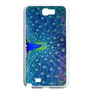 HOPPYS Diy Phone Case Peacock Pattern Hard Case For Samsung Galaxy Note 2 N7100