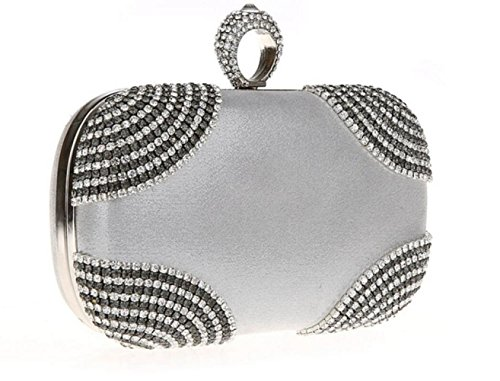 Rhinestone Party For WenL Material Silver Evening New Bag Velvet Fashion 008Eqw7