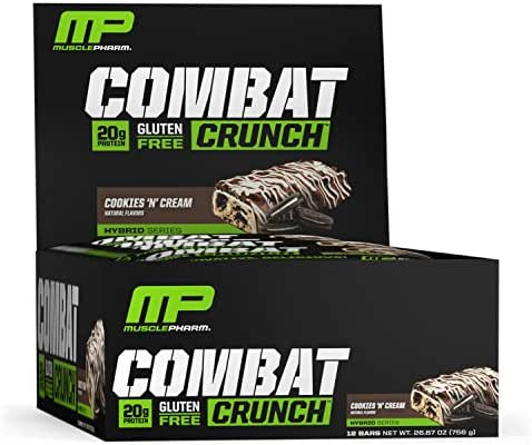 MusclePharm Combat Crunch Protein Bar, Cookies 'N' Cream, 12 Bars
