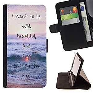 - I want to be wild Beautiful And Free - - Style PU Leather Case Wallet Flip Stand Flap Closure Cover FOR Samsung Galaxy S4 IV I9500 - Devil Case -