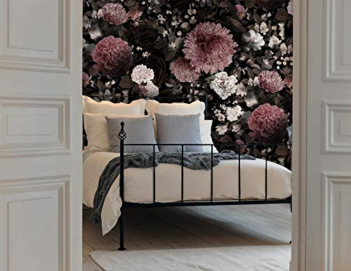 Murwall Dark Floral Wallpaper Pink Chrysanthemum Wall Mural White Floral Wall Print Classical Home Decor