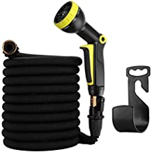 """50ft Garden Hose - Expandable Water Hose with 9 Function Spray Nozzle, Triple Latex Core, 3/4"""" Solid Brass Fittings, Extra Strength Fabric - Flexible Expanding Hose with Portable Bags & Hose Clamp"""