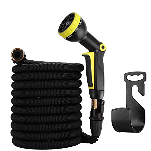 50ft Garden Hose - Expandable Water Hose with 9 Function Spray Nozzle, Triple Latex Core, 3/4