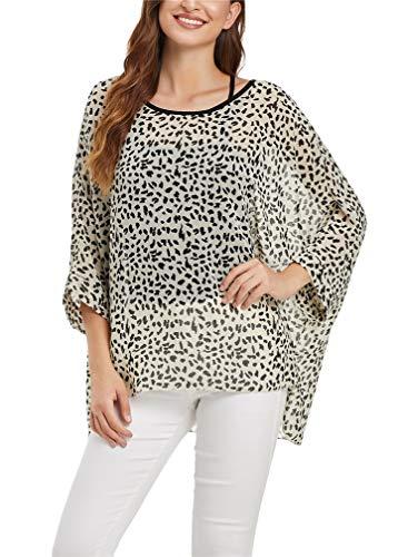 Animal Tunic Print Blouse - Vanbuy Womens Summer Cheetah Print Top Batwing Sleeve Top Chiffon Poncho Flowy Loose Sheer Blouse Shirt Tunic Z336-43-4362