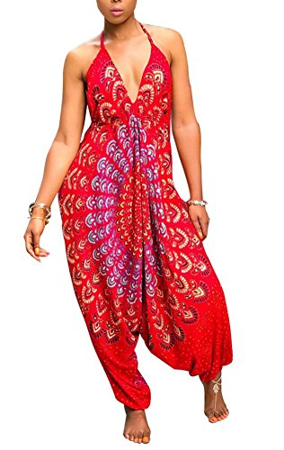 Kafiloe Womens Boho African Print Spaghetti Strap Loose Fit Harem Jumpsuit Rompers Pants Long Summer Casual Red M
