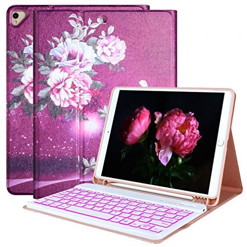 """iPad 8th Generation Keyboard Case 10.2"""" 2020(8th Gen)/2019(7th Gen),7 Colors Backlit Detachable Keyboard Case for iPad 10.2"""" /iPad Air 3 10.5""""(3rd Gen)/iPad Pro 10.5"""" with Pencil Holder-Peony Pink"""
