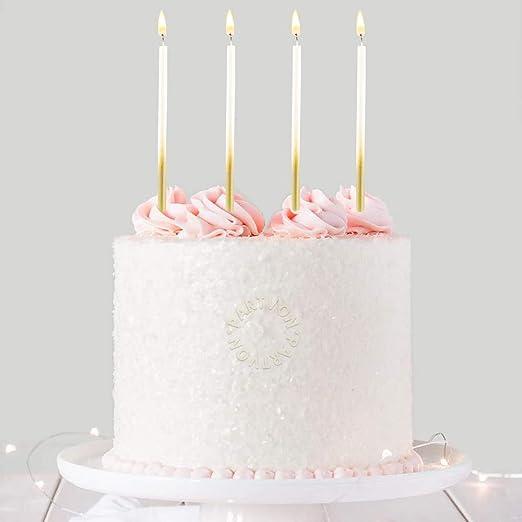 Birthday Candles Set of 24 White Iridescent Sparkle Spiral Birthday Candles