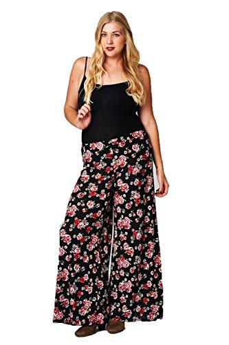 Frumos Womens Floral Print Palazzo Elatic Banded Plus Size Pants Flower Black 3XL