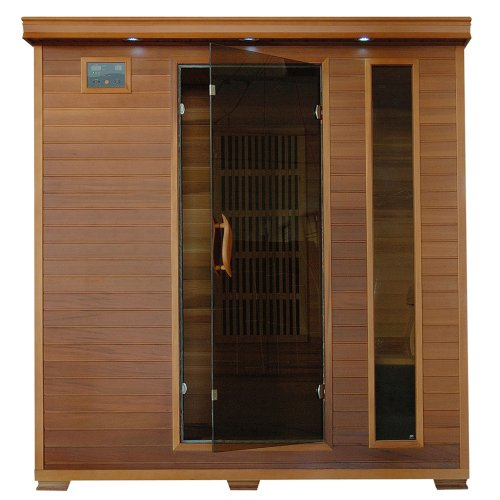 Cheap Radiant Saunas 4-Person Cedar Infrared Sauna with 9 Carbon Heaters, Chromotherapy Lighting, Oxygen Ionizer, Music System