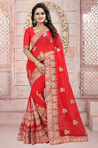Da Facioun Femmes Indiennes De Saris Concepteur Partywear Sari Traditionnel Orange Ethnique.